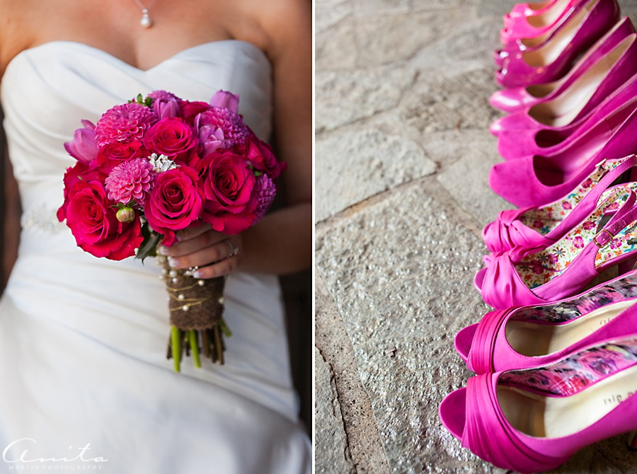 bouquet of flowers and fuschia pink high heels shoes