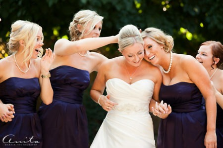 bride and bridesmaid at foresthill wedding pictorial