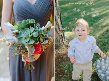 young boy with bubbles and woman holding bouquet