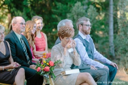 mother crying at the wedding