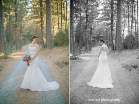 bride in the middle of the forest road for pictorial