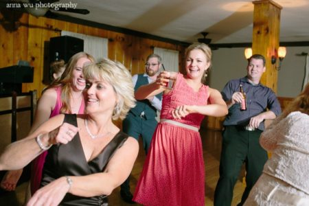 wedding guests partying and dancing
